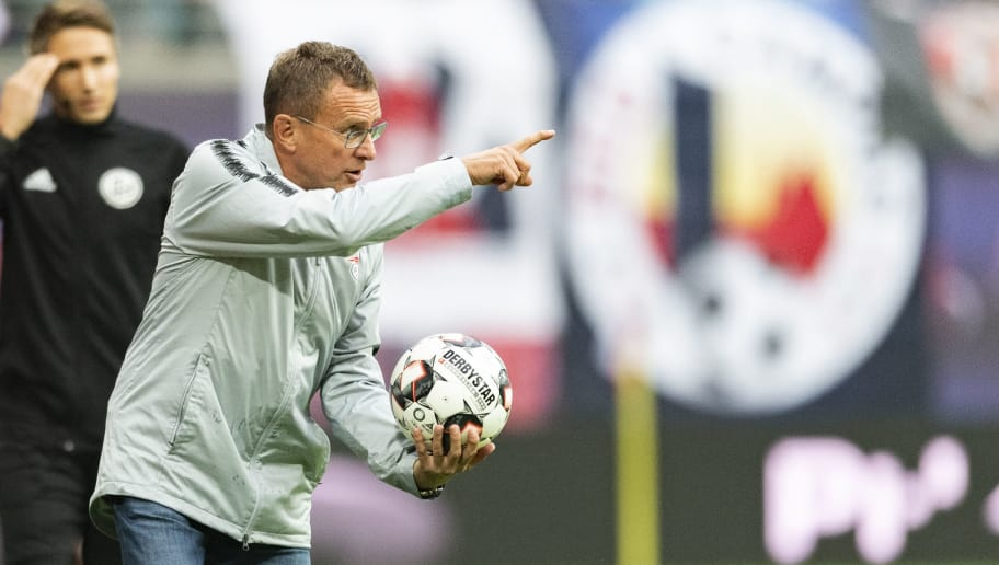 Leipzig's German headcoach Ralf Rangnick gestures during the German first division Bundesliga football match RB Leipzig vs Fortuna Duesseldorf in Leipzig, eastern Germany, on September 2, 2018. (Photo by ROBERT MICHAEL / AFP) / RESTRICTIONS: DFL REGULATIONS PROHIBIT ANY USE OF PHOTOGRAPHS AS IMAGE SEQUENCES AND/OR QUASI-VIDEO        (Photo credit should read ROBERT MICHAEL/AFP/Getty Images)