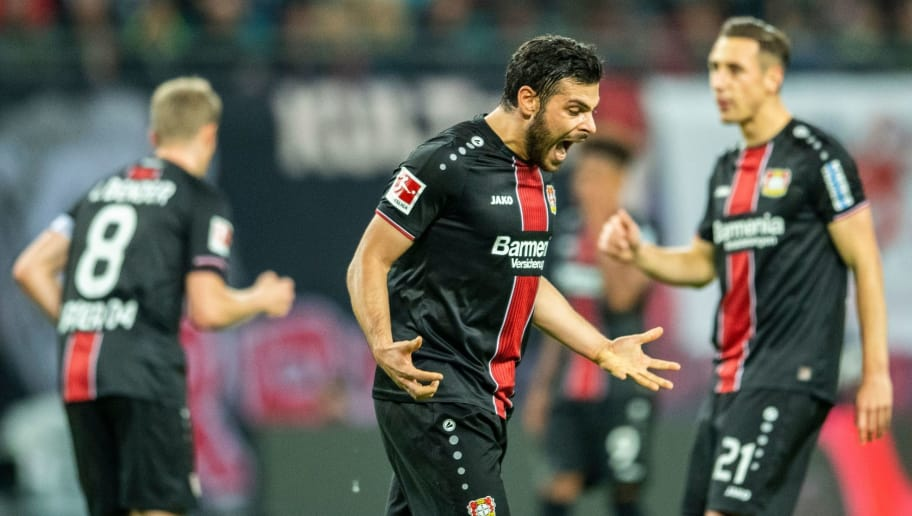 Leverkusen´s midfielder Kevin Volland reacts during the German first division Bundesliga football match RB Leipzig vs Bayer Leverkusen in Leipzig, eastern Germany, on November 11, 2018. (Photo by ROBERT MICHAEL / AFP) / RESTRICTIONS: DFL REGULATIONS PROHIBIT ANY USE OF PHOTOGRAPHS AS IMAGE SEQUENCES AND/OR QUASI-VIDEO        (Photo credit should read ROBERT MICHAEL/AFP/Getty Images)