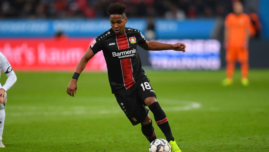 Leverkusen's Brazilian defender Wendell controls the ball during the German first division Bundesliga football match of Bayer Leverkusen vs TSG 1899 Hoffenheim in Leverkusen, western Germany, on November 03, 2018. (Photo by Patrik STOLLARZ / AFP) / DFL REGULATIONS PROHIBIT ANY USE OF PHOTOGRAPHS AS IMAGE SEQUENCES AND/OR QUASI-VIDEO        (Photo credit should read PATRIK STOLLARZ/AFP/Getty Images)