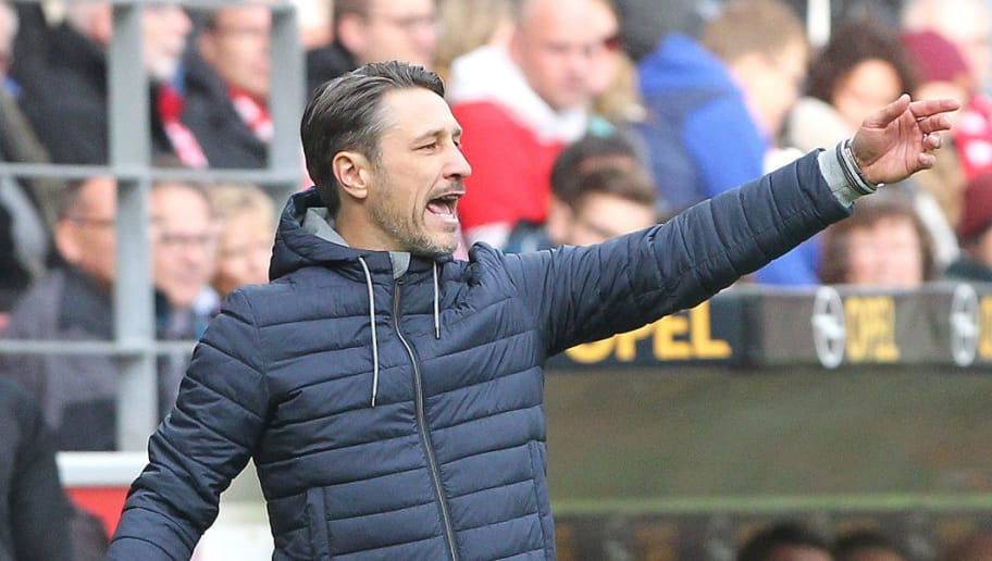 Bayern Munich's Croatian headcoach Niko Kovac reacts on the sideline during the German first division Bundesliga football match FSV Mainz 05 vs FC Bayern Munich in Mainz, western Germany, on October 27, 2018. (Photo by Daniel ROLAND / AFP) / RESTRICTIONS: DFL REGULATIONS PROHIBIT ANY USE OF PHOTOGRAPHS AS IMAGE SEQUENCES AND/OR QUASI-VIDEO        (Photo credit should read DANIEL ROLAND/AFP/Getty Images)