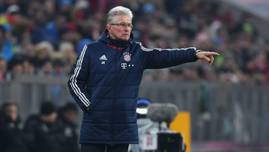 Bayern Munich's headcoach Jupp Heynckes gestures during the German First division Bundesliga football match Bayern Munich vs Hannover 96 on December 2, 2017 in Munich. / AFP PHOTO / Christof STACHE / RESTRICTIONS: DURING MATCH TIME: DFL RULES TO LIMIT THE ONLINE USAGE TO 15 PICTURES PER MATCH AND FORBID IMAGE SEQUENCES TO SIMULATE VIDEO. == RESTRICTED TO EDITORIAL USE == FOR FURTHER QUERIES PLEASE CONTACT DFL DIRECTLY AT + 49 69 650050         (Photo credit should read CHRISTOF STACHE/AFP/Getty Images)