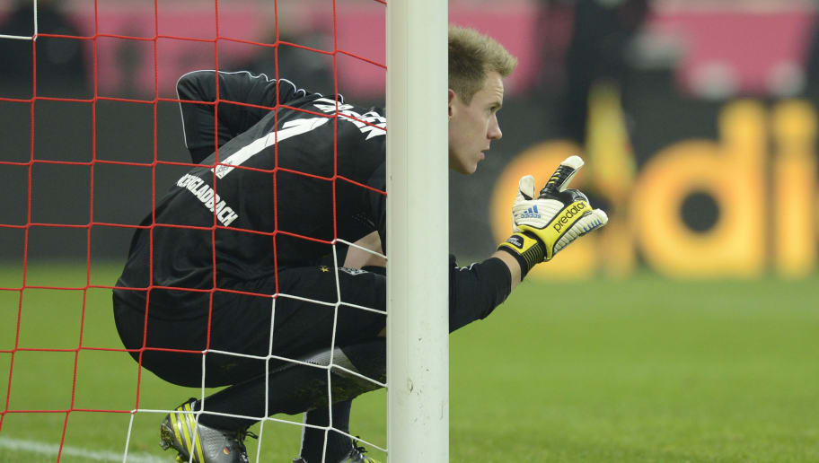 Moenchengladbach's goalkeeper Marc-Andre ter Stegen gestures during the German first division Bundesliga match between FC Bayern Munich and Borussia Moenchengladbach in the stadium in Munich, southern Germany, on December 14, 2012. AFP PHOTO/CHRISTOF STACHE        (Photo credit should read CHRISTOF STACHE/AFP/Getty Images)