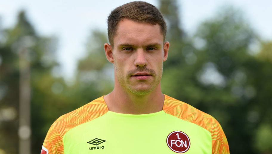 Nuremberg's goalkeeper Christian Mathenia poses during the presentation of the football team of the German first division Bundesliga club FC Nuremberg on July 16, 2018 in Nuremberg, southern Germany. (Photo by Christof STACHE / AFP)        (Photo credit should read CHRISTOF STACHE/AFP/Getty Images)