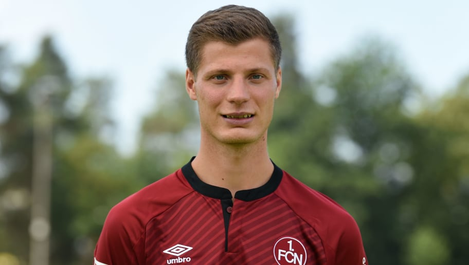 Nuremberg's midfielder Patrick Erras poses during the presentation of the football team of the German first division Bundesliga club FC Nuremberg on July 16, 2018 in Nuremberg, southern Germany. (Photo by Christof STACHE / AFP)        (Photo credit should read CHRISTOF STACHE/AFP/Getty Images)