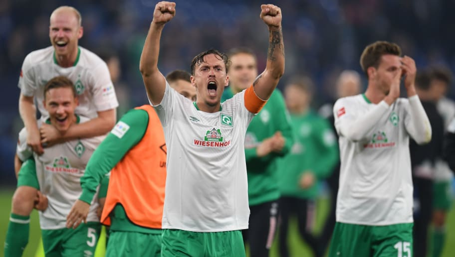 Bremen's German forward Max Kruse celebrates after the German first division Bundesliga football match Schalke 04 v Werder Bremen on October 20, 2018 in Gelsenkirchen. (Photo by Patrik STOLLARZ / AFP) / RESTRICTIONS: DFL REGULATIONS PROHIBIT ANY USE OF PHOTOGRAPHS AS IMAGE SEQUENCES AND/OR QUASI-VIDEO        (Photo credit should read PATRIK STOLLARZ/AFP/Getty Images)