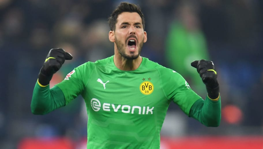 Dortmund's Swiss goalkeeper Roman Buerki reacts during the German first division Bundesliga football match Schalke 04 vs Borussia Dortmund on December 8, 2018 in Gelsenkirchen. (Photo by Patrik STOLLARZ / AFP) / RESTRICTIONS: DFL REGULATIONS PROHIBIT ANY USE OF PHOTOGRAPHS AS IMAGE SEQUENCES AND/OR QUASI-VIDEO        (Photo credit should read PATRIK STOLLARZ/AFP/Getty Images)