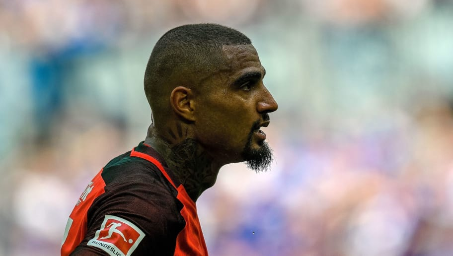 Frankfurt's Ghana midfielder Kevin Prince Boateng looks on during the German first division Bundesliga football match FC Schalke 04 vs Eintracht Frankfurt in Gelsenkirchen, western Germany, on May 12, 2018. (Photo by SASCHA SCHUERMANN / AFP) / RESTRICTIONS: DURING MATCH TIME: DFL RULES TO LIMIT THE ONLINE USAGE TO 15 PICTURES PER MATCH AND FORBID IMAGE SEQUENCES TO SIMULATE VIDEO. == RESTRICTED TO EDITORIAL USE == FOR FURTHER QUERIES PLEASE CONTACT DFL DIRECTLY AT + 49 69 650050        (Photo credit should read SASCHA SCHUERMANN/AFP/Getty Images)