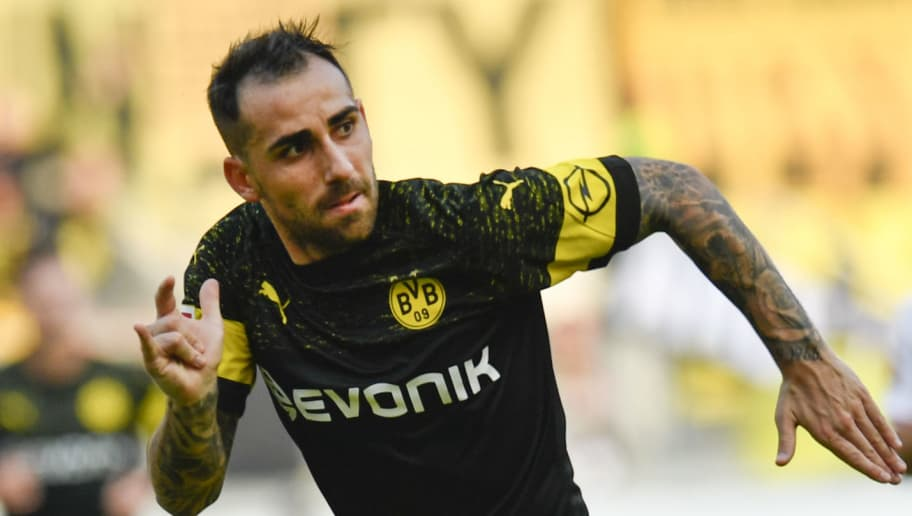 Dortmund's Spanish forward Paco Alcacer sprints during the German first division Bundesliga football match VfB Stuttgart vs BVB Borussia Dortmund on October 20, 2018 in Stuttgart. (Photo by Thomas KIENZLE / AFP) / RESTRICTIONS: DFL REGULATIONS PROHIBIT ANY USE OF PHOTOGRAPHS AS IMAGE SEQUENCES AND/OR QUASI-VIDEO        (Photo credit should read THOMAS KIENZLE/AFP/Getty Images)