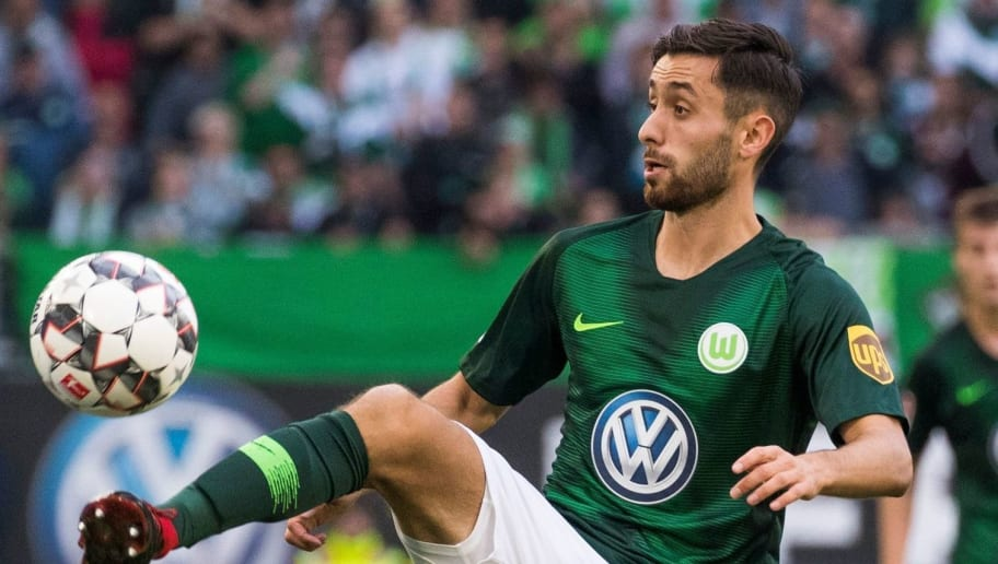 Wolfsburg's German midfielder Yunus Malli (C), Berlin's German midfielder Arne Maier (R) and Berlin's Serbian midfielder Marko Grujic vie for the ball during the German First division Bundesliga football match between VfL Wolfsburg and Hertha Berlin in Wolfsburg, on September 15, 2018. (Photo by ODD ANDERSEN / AFP) / DFL REGULATIONS PROHIBIT ANY USE OF PHOTOGRAPHS AS IMAGE SEQUENCES AND/OR QUASI-VIDEO        (Photo credit should read ODD ANDERSEN/AFP/Getty Images)
