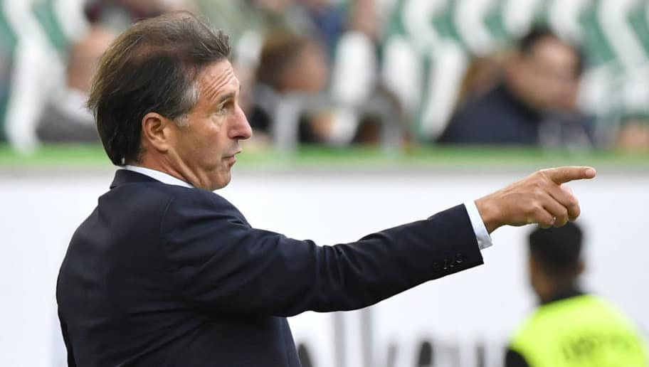 Wolfsburg's German head coach Bruno Labbadia reacts during the German First division Bundesliga football match between VfL Wolfsburg and SC Freiburg in Wolfsburg, on September 22, 2018. (Photo by John MACDOUGALL / AFP) / DFL REGULATIONS PROHIBIT ANY USE OF PHOTOGRAPHS AS IMAGE SEQUENCES AND/OR QUASI-VIDEO        (Photo credit should read JOHN MACDOUGALL/AFP/Getty Images)