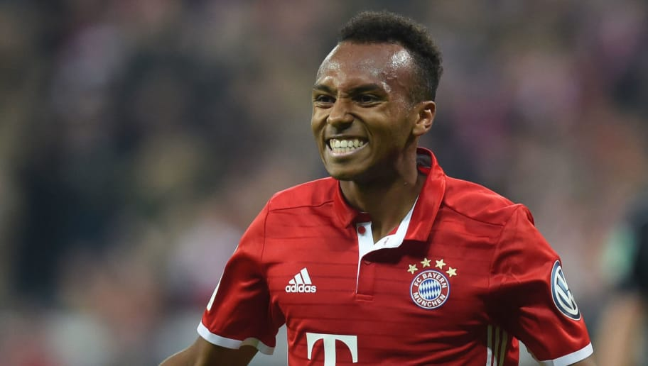 Bayern Munich's US midfielder Julian Green celebrates after scoring the second goal for Munich during the German Cup (DFB Pokal) second round football match between the German first division team's Bayern Munich and FC Augsburg 1907 at the stadium in Munich, southern Germany, on October 26, 2016. / AFP / CHRISTOF STACHE        (Photo credit should read CHRISTOF STACHE/AFP/Getty Images)