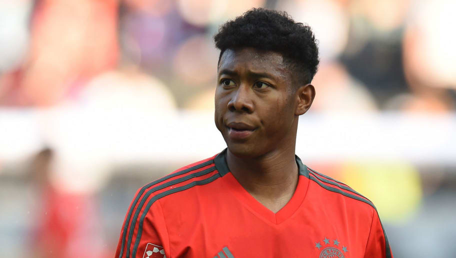 Bayern Munich's Austrian defender David Alaba looks on during the German Cup DFB Pokal final football match FC Bayern Munich vs Eintracht Frankfurt at the Olympic Stadium in Berlin on May 19, 2018. (Photo by Christof STACHE / AFP) / RESTRICTIONS: ACCORDING TO DFB RULES IMAGE SEQUENCES TO SIMULATE VIDEO IS NOT ALLOWED DURING MATCH TIME. MOBILE (MMS) USE IS NOT ALLOWED DURING AND FOR FURTHER TWO HOURS AFTER THE MATCH. == RESTRICTED TO EDITORIAL USE == FOR MORE INFORMATION CONTACT DFB DIRECTLY AT +49 69 67880 /         (Photo credit should read CHRISTOF STACHE/AFP/Getty Images)