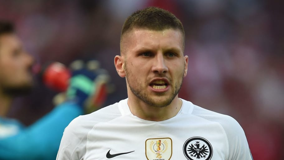 Frankfurt's Croatian striker Ante Rebic reacts during the German Cup DFB Pokal final football match FC Bayern Munich vs Eintracht Frankfurt at the Olympic Stadium in Berlin on May 19, 2018. (Photo by Christof STACHE / AFP) / RESTRICTIONS: ACCORDING TO DFB RULES IMAGE SEQUENCES TO SIMULATE VIDEO IS NOT ALLOWED DURING MATCH TIME. MOBILE (MMS) USE IS NOT ALLOWED DURING AND FOR FURTHER TWO HOURS AFTER THE MATCH. == RESTRICTED TO EDITORIAL USE == FOR MORE INFORMATION CONTACT DFB DIRECTLY AT +49 69 67880 /         (Photo credit should read CHRISTOF STACHE/AFP/Getty Images)