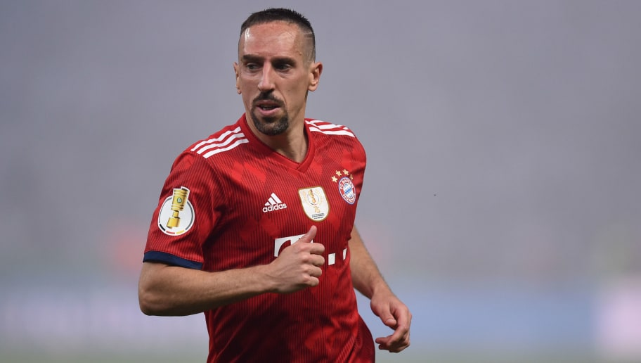 Bayern Munich's French midfielder Franck Ribery runs during the German Cup DFB Pokal final football match FC Bayern Munich vs Eintracht Frankfurt at the Olympic Stadium in Berlin on May 19, 2018. (Photo by Christof STACHE / AFP) / RESTRICTIONS: ACCORDING TO DFB RULES IMAGE SEQUENCES TO SIMULATE VIDEO IS NOT ALLOWED DURING MATCH TIME. MOBILE (MMS) USE IS NOT ALLOWED DURING AND FOR FURTHER TWO HOURS AFTER THE MATCH. == RESTRICTED TO EDITORIAL USE == FOR MORE INFORMATION CONTACT DFB DIRECTLY AT +49 69 67880 /         (Photo credit should read CHRISTOF STACHE/AFP/Getty Images)
