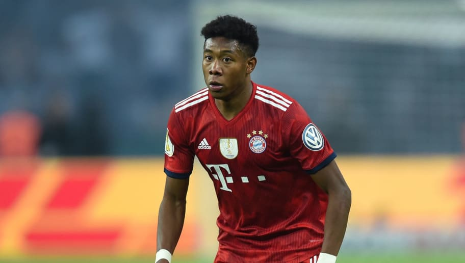 Bayern Munich's Austrian defender David Alaba runs with the ball during the German Cup DFB Pokal final football match FC Bayern Munich vs Eintracht Frankfurt at the Olympic Stadium in Berlin on May 19, 2018. (Photo by Christof STACHE / AFP) / RESTRICTIONS: ACCORDING TO DFB RULES IMAGE SEQUENCES TO SIMULATE VIDEO IS NOT ALLOWED DURING MATCH TIME. MOBILE (MMS) USE IS NOT ALLOWED DURING AND FOR FURTHER TWO HOURS AFTER THE MATCH. == RESTRICTED TO EDITORIAL USE == FOR MORE INFORMATION CONTACT DFB DIRECTLY AT +49 69 67880 /         (Photo credit should read CHRISTOF STACHE/AFP/Getty Images)