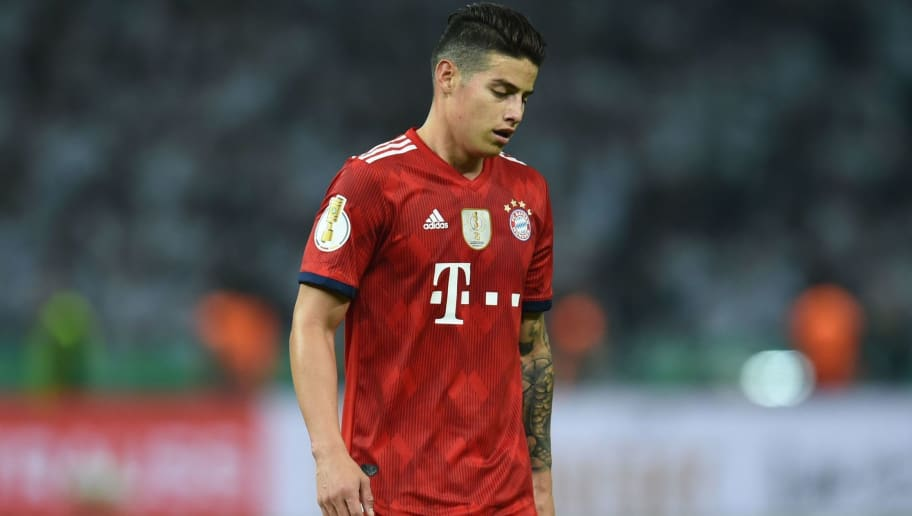 Bayern Munich's Colombian midfielder James Rodriguez reacts during the German Cup DFB Pokal final football match FC Bayern Munich vs Eintracht Frankfurt at the Olympic Stadium in Berlin on May 19, 2018. (Photo by Christof STACHE / AFP) / RESTRICTIONS: ACCORDING TO DFB RULES IMAGE SEQUENCES TO SIMULATE VIDEO IS NOT ALLOWED DURING MATCH TIME. MOBILE (MMS) USE IS NOT ALLOWED DURING AND FOR FURTHER TWO HOURS AFTER THE MATCH. == RESTRICTED TO EDITORIAL USE == FOR MORE INFORMATION CONTACT DFB DIRECTLY AT +49 69 67880 /         (Photo credit should read CHRISTOF STACHE/AFP/Getty Images)