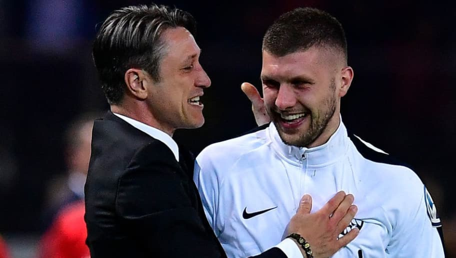 Frankfurt's Croatian head coach Niko Kovac (L) celebrates with Frankfurt's Croatian forward Ante Rebic during the German Cup DFB Pokal final football match FC Bayern Munich vs Eintracht Frankfurt at the Olympic Stadium in Berlin on May 19, 2018. (Photo by Tobias SCHWARZ / AFP) / RESTRICTIONS: ACCORDING TO DFB RULES IMAGE SEQUENCES TO SIMULATE VIDEO IS NOT ALLOWED DURING MATCH TIME. MOBILE (MMS) USE IS NOT ALLOWED DURING AND FOR FURTHER TWO HOURS AFTER THE MATCH. == RESTRICTED TO EDITORIAL USE == FOR MORE INFORMATION CONTACT DFB DIRECTLY AT +49 69 67880 /         (Photo credit should read TOBIAS SCHWARZ/AFP/Getty Images)