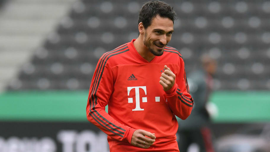 Bayern Munich's German defender Mats Hummels reacts during a training session of Bayern Munich's German football team on May 18, 2018, at the Berlin Olympic stadium in Berlin, on the eve of the German Cup DFB Pokal final football match FC Bayern Munich versus Eintracht Frankfurt. (Photo by Christof STACHE / AFP)        (Photo credit should read CHRISTOF STACHE/AFP/Getty Images)