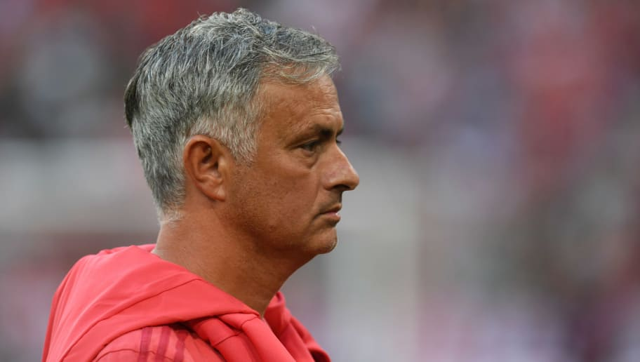 Manchester United's Portuguese manager Jose Mourinho attendsthe warm up prior to the pre-season friendly football match between FC Bayern Munich and Manchester United at the Allianz Arena in Munich, southern Germany, on August 5, 2018. (Photo by Christof STACHE / AFP)        (Photo credit should read CHRISTOF STACHE/AFP/Getty Images)