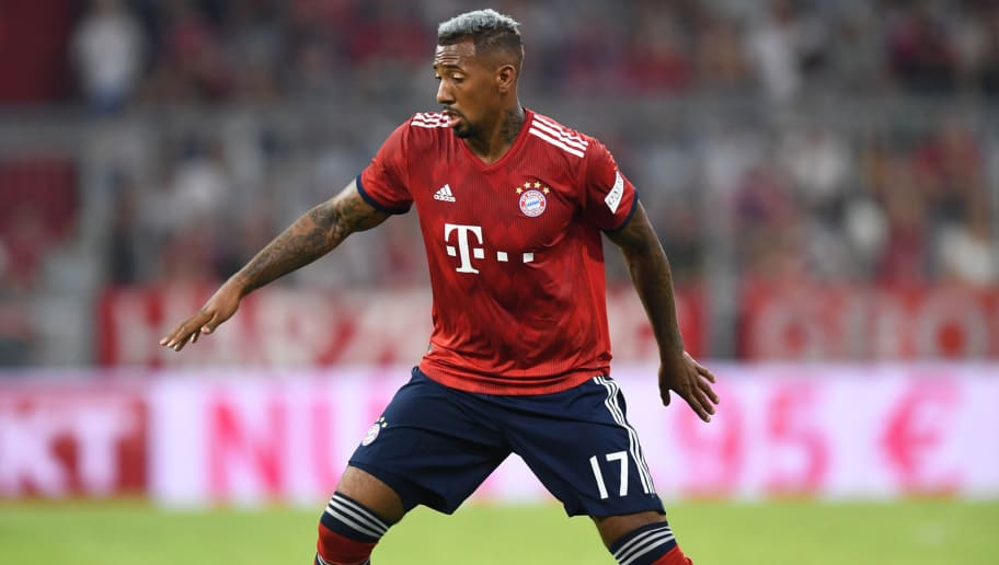 Bayern Munich's defender Jerome Boateng plays the ball during the pre-season friendly football match between FC Bayern Munich and Manchester United at the Allianz Arena in Munich, southern Germany on August 5, 2018. (Photo by Christof STACHE / AFP)        (Photo credit should read CHRISTOF STACHE/AFP/Getty Images)