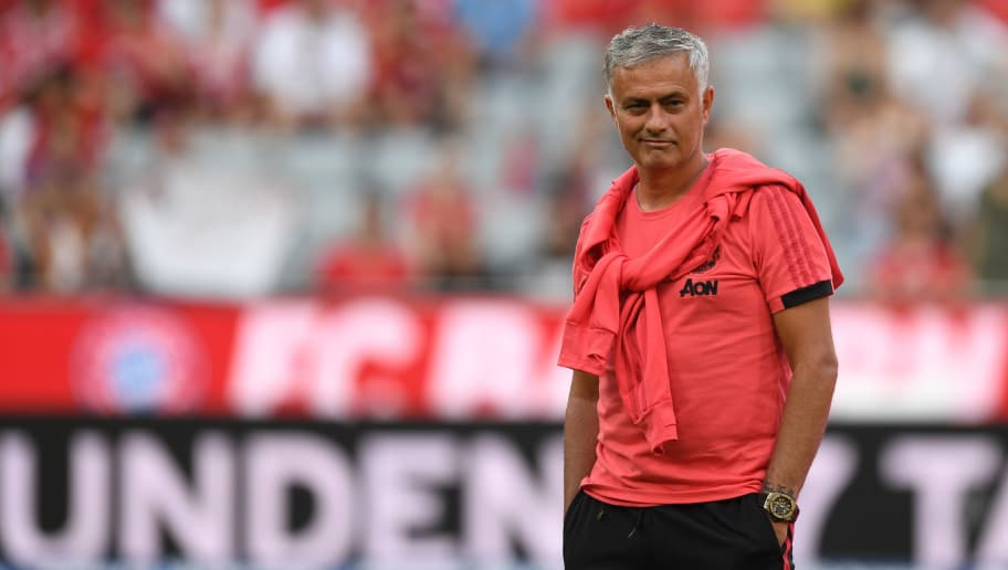 Manchester United's Portuguese manager Jose Mourinho attends the warm up prior to the pre-season friendly football match between FC Bayern Munich and Manchester United at the Allianz Arena in Munich, southern Germany, on August 5, 2018. (Photo by Christof STACHE / AFP)        (Photo credit should read CHRISTOF STACHE/AFP/Getty Images)