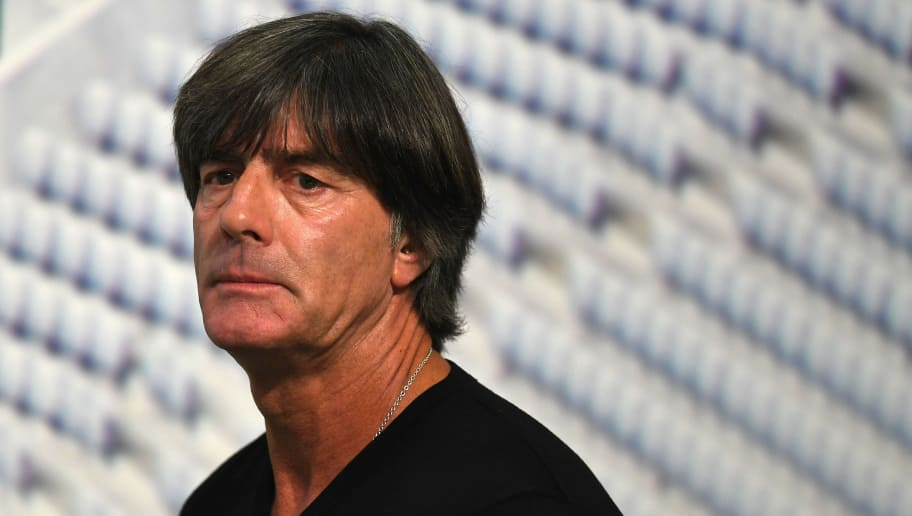 Germany's national football head coach Joachim Loew arrives for a press conference in the stadium in Munich, southern Germany, on August 29, 2018. - After the debacle in Russia, Germany coach Joachim Loew is also expected to make sweeping changes when he names his squad on for the home game against newly-crowned world champions France on September 6 in the Nations League. (Photo by Christof STACHE / AFP)        (Photo credit should read CHRISTOF STACHE/AFP/Getty Images)