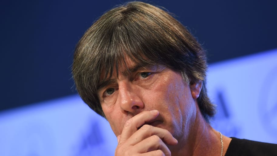 German national football team's coach Joachim Loew attends a press conference, on August 29, 2018 in Munich where he is due to outline how he plans to shake up his team after it crashed out of the football World Cup in the group stages. - After the debacle in Russia, Germany coach Joachim Loew is also expected to make sweeping changes when he names his squad on for the home game against newly-crowned world champions France on September 6 in the Nations League. (Photo by Christof STACHE / AFP)        (Photo credit should read CHRISTOF STACHE/AFP/Getty Images)