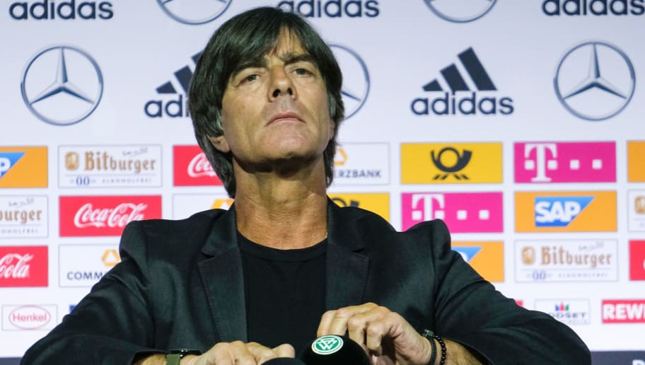 Joachim Loew, head coach of the German national football team, gives a press conference on May 15, 2018 at the German Football Museum in Dortmund, Germany, to name his new squad for the World Cup 2018 in Russia. (Photo by Patrik STOLLARZ / AFP)        (Photo credit should read PATRIK STOLLARZ/AFP/Getty Images)