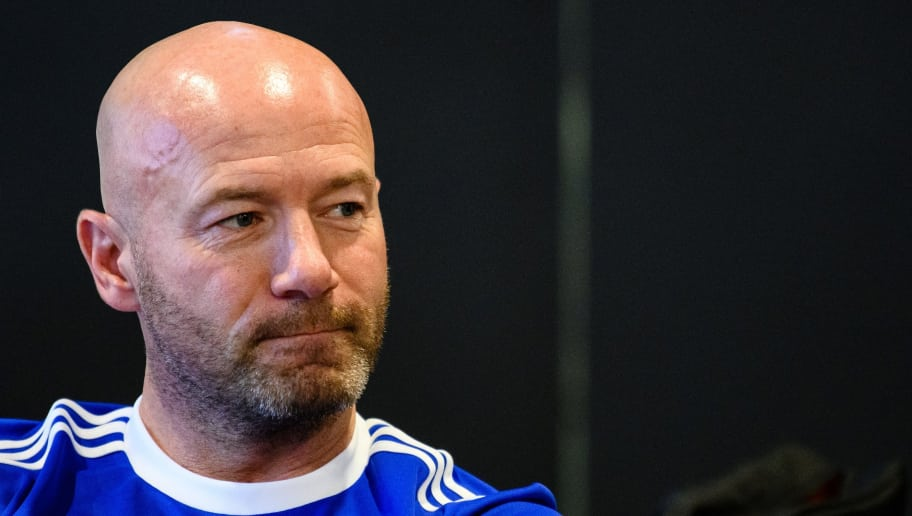 England football great Alan Shearer looks on during a press conference in Hong Kong on November 16, 2018. - Shearer on November 16 defended the controversial 6.4 million USD farewell gift awarded to the English Premier League's outgoing boss, claiming Richard Scudamore had done a 'fantastic' job. (Photo by Anthony WALLACE / AFP)        (Photo credit should read ANTHONY WALLACE/AFP/Getty Images)