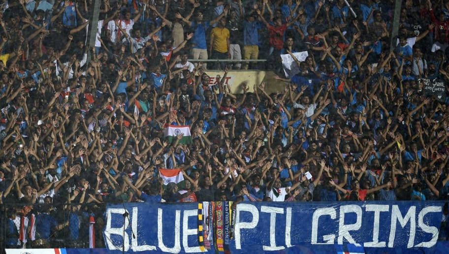 Indian fans attend the Hero Intercontinental Cup football match between India and Kenya in Mumbai on June 4, 2018. - India's football international against Kenya on June 4  was sold out in hours following captain Sunil Chhetri's emotional plea for fans to support the team after barely 2,500 people turned up to watch them play last week. (Photo by PUNIT PARANJPE / AFP)        (Photo credit should read PUNIT PARANJPE/AFP/Getty Images)