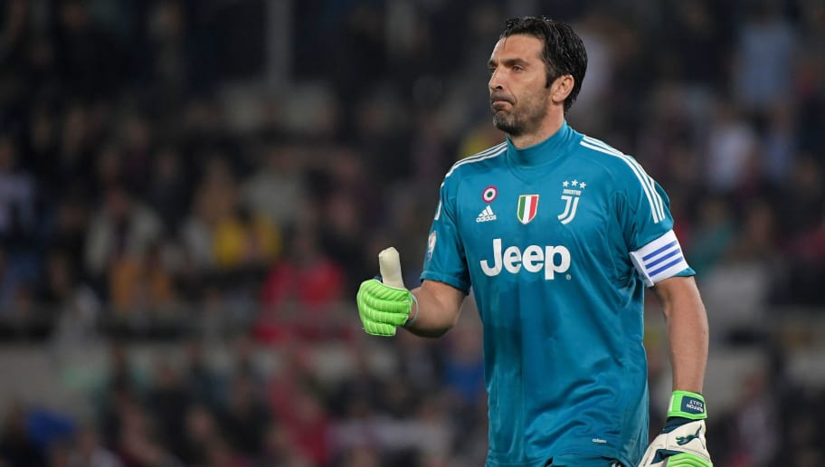 Juventus' goalkeeper from Italy Gianluigi Buffon reacts during the Italian Tim Cup (Coppa Italia) final Juventus vs AC Milan at the Olympic stadium on May 9, 2018 in Rome. (Photo by Tiziana FABI / AFP)        (Photo credit should read TIZIANA FABI/AFP/Getty Images)
