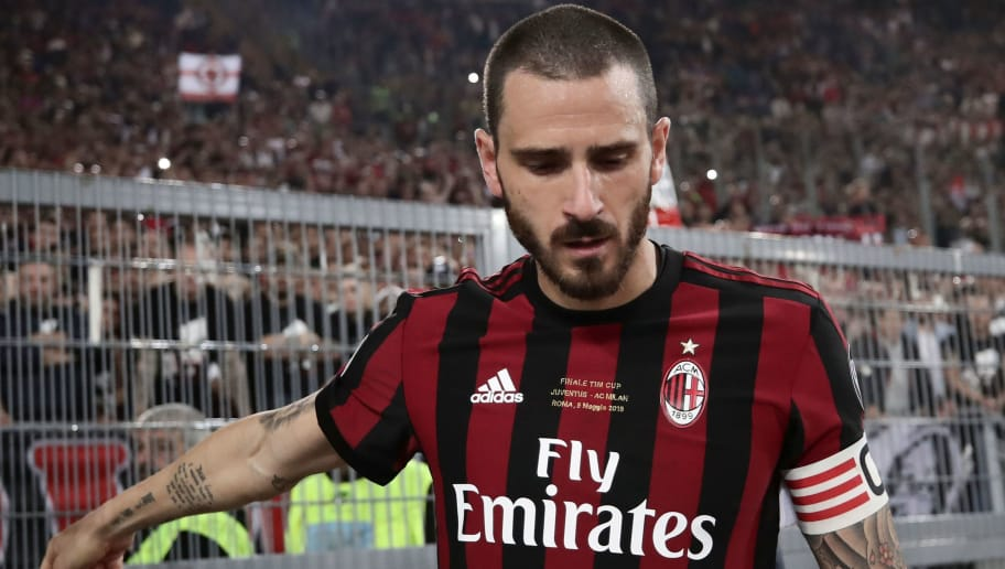 AC Milan's defender Leonardo Bonucci looks dejected at the end of the Italian Tim Cup (Coppa Italia) final Juventus vs AC Milan at the Olympic stadium on May 9, 2018 in Rome. - Juventus crushed AC Milan 4-0 on today at the Stadio Olimpico to win a fourth consecutive Italian Cup. Mehdi Benatia opened the floodgates after 56 minutes for the first of a double of the night for the Moroccan with Douglas Costa also finding the net in the space of nine minutes. A Nikola Kalinic own goal accounted for the fourth (Photo by Isabella Bonotto / AFP)        (Photo credit should read ISABELLA BONOTTO/AFP/Getty Images)