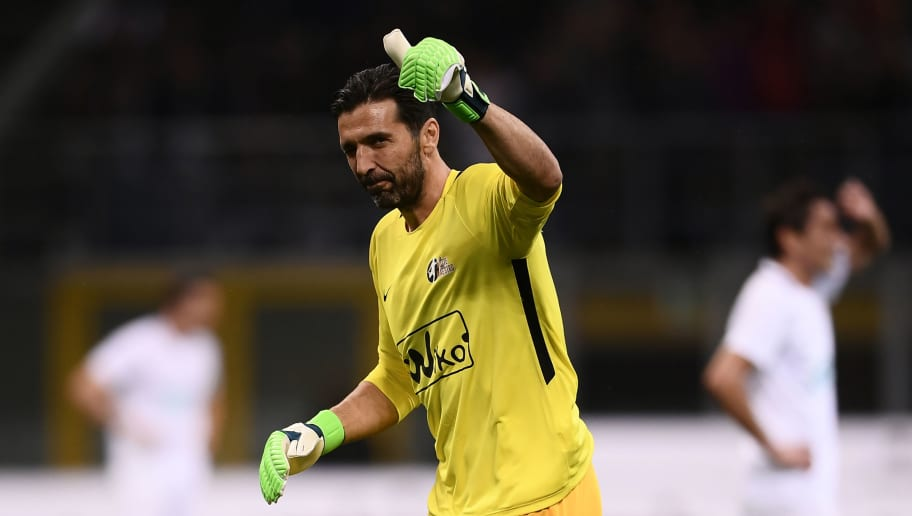 Italian goalkeeper Gianluigi Buffon gestures during the 'Notte del Maestro' (master's night), a football match celebrating the end of former Italy's football player Andrea Pirlo's career as a football player, on May 21, 2018 at the Giuseppe Meazza Stadium in Milan. (Photo by MARCO BERTORELLO / AFP)        (Photo credit should read MARCO BERTORELLO/AFP/Getty Images)