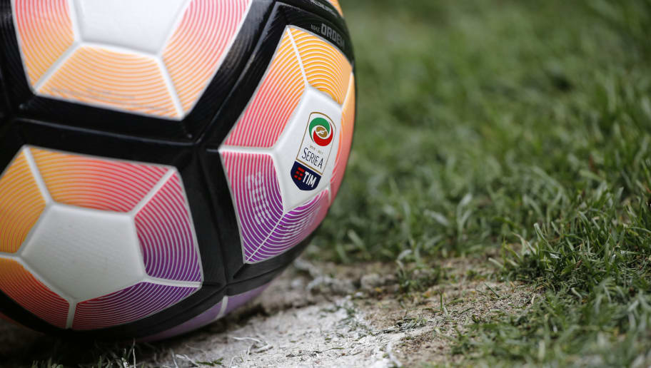 A picture shows the official logo of Italian Serie A Tim on a ball during the Italian Serie A football match Genoa Vs Lazio on April 15, 2017 at the 'Luigi Ferraris Stadium' in Genoa.  / AFP PHOTO / Marco BERTORELLO        (Photo credit should read MARCO BERTORELLO/AFP/Getty Images)