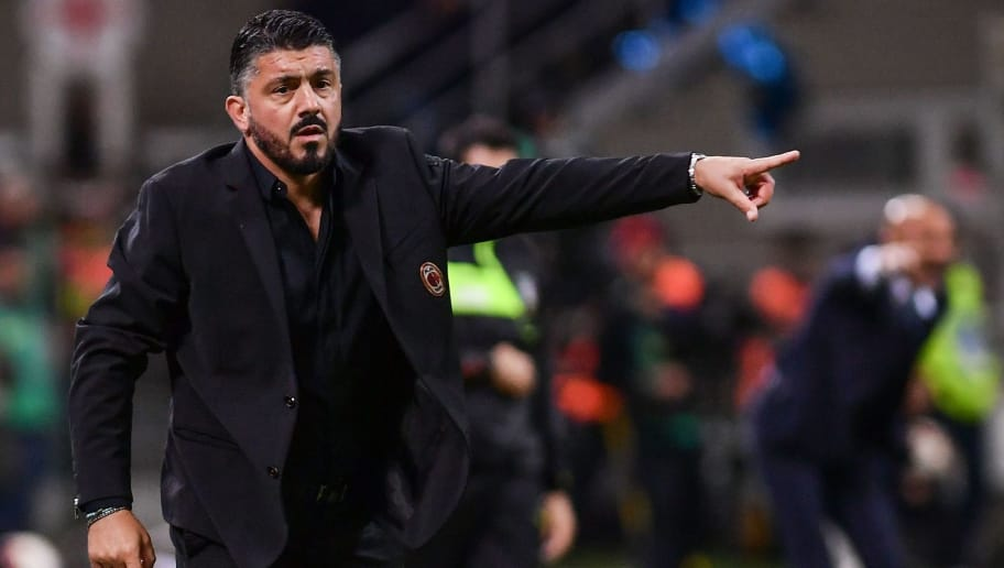 AC Milan's Italian coach Gennaro Gattuso gives instructions during the Italian Serie A football match Inter Milan vs AC Milan on October 21, 2018 at the San Siro stadium in Milan. (Photo by Marco BERTORELLO / AFP)        (Photo credit should read MARCO BERTORELLO/AFP/Getty Images)