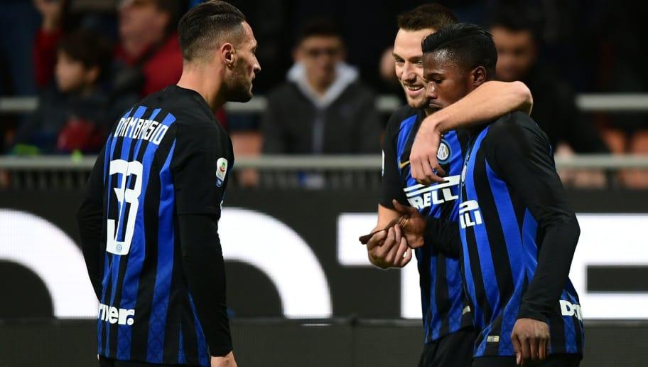 dc544950ab0e1b Inter Milan's Senegalese forward Keita Balde (R) celebrates after opening  the scoring with Inter