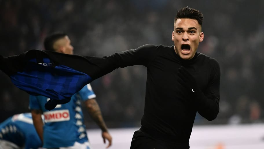 Inter Milan's Argentine forward Lautaro Martinez celebrates after opening the scoring during the Italian Serie A football match Inter Milan vs Napoli on December 26, 2018 at the San Siro stadium in Milan. (Photo by Marco BERTORELLO / AFP)        (Photo credit should read MARCO BERTORELLO/AFP/Getty Images)