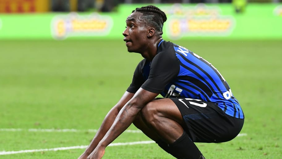 Inter Milan's French forward Yann Karamoh gestures during the Italian Serie A football match Inter Milan vs Sassuolo at the San Siro stadium in Milan on May 12, 2018. (Photo by MIGUEL MEDINA / AFP)        (Photo credit should read MIGUEL MEDINA/AFP/Getty Images)