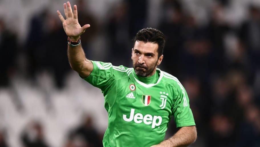 bd90de67286 Juventus' goalkeeper Gianluigi Buffon waves at the end of the Italian Serie  A football match