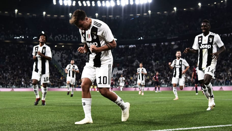 Juventus' Argentinian forward Paulo Dybala celebrates after scoring a goal during the Italian Serie A football match between Juventus and Bologna on September 26, 2018 at the Allianz Stadium in Turin. (Photo by MARCO BERTORELLO / AFP)        (Photo credit should read MARCO BERTORELLO/AFP/Getty Images)