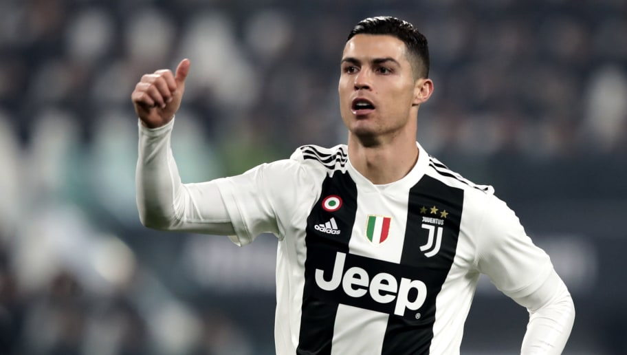 Juventus' Portuguese forward Cristiano Ronaldo celebrates during the Serie A soccer match Juventus vs InterMilan at the Stadio delle Alpi in Turin on December 7, 2018. (Photo by Isabella BONOTTO / AFP)        (Photo credit should read ISABELLA BONOTTO/AFP/Getty Images)