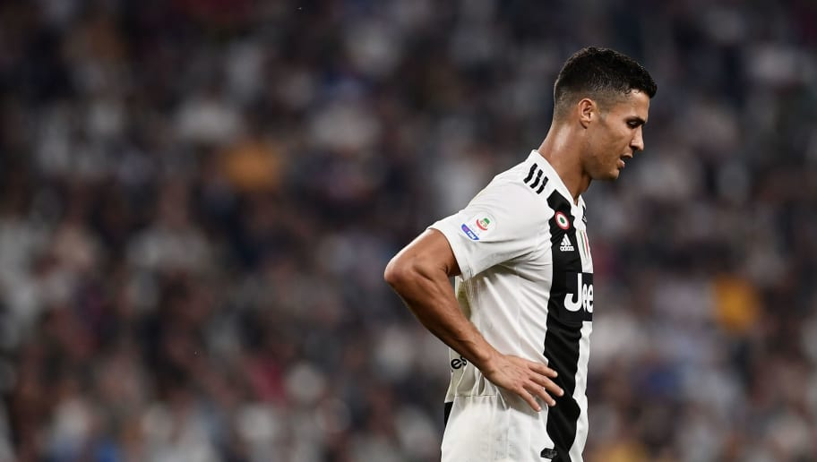 Juventus' Portuguese forward Cristiano Ronaldo reacts during the Italian Serie A football match Juventus vs Napoli on September 29, 2018 at the Juventus stadium in Turin. (Photo by Marco BERTORELLO / AFP)        (Photo credit should read MARCO BERTORELLO/AFP/Getty Images)