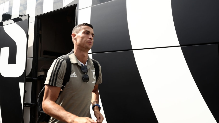 Juventus forward from Portugal Cristiano Ronaldo arrives at Villar Perosa for the friendly match between Juventus A and Juventus B at Villar Perosa, on August 12, 2018. (Photo by Isabella Bonotto / AFP)        (Photo credit should read ISABELLA BONOTTO/AFP/Getty Images)