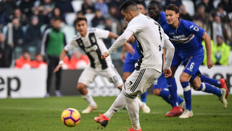 Juventus' Portuguese forward Cristiano Ronaldo shoots to score a penalty kick during the Italian Serie A football match Juventus vs Sampdoria on December 29, 2018 at the Juventus stadium in Turin. (Photo by Marco BERTORELLO / AFP)        (Photo credit should read MARCO BERTORELLO/AFP/Getty Images)