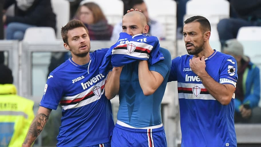 (From L) Sampdoria's Polish midfielder Karol Linetty, Sampdoria's midfielder Riccardo Saponara and Sampdoria's Italian forward Fabio Quagliarella celebrate after Saponara scored an equalizer, that was later disallowed by the referee, during the Italian Serie A football match Juventus vs Sampdoria on December 29, 2018 at the Juventus stadium in Turin. (Photo by Marco BERTORELLO / AFP) / ALTERNATIVE CROP        (Photo credit should read MARCO BERTORELLO/AFP/Getty Images)