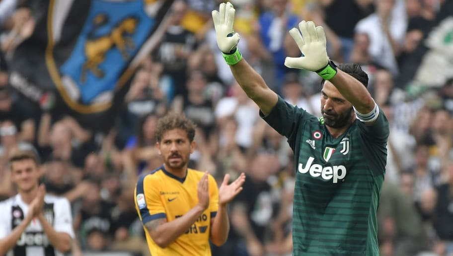 a68d9eb0aeb Juventus  goalkeeper from Italy Gianluigi Buffon greets fans at the end of  the Italian Serie