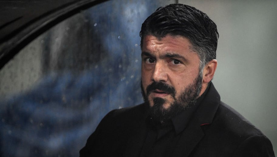 AC Milan's Italian coach Gennaro Gattuso looks on prior to the Italian Serie A football match Lazio Rome vs AC Milan on November 25, 2018 at the Olympic stadium in Rome. (Photo by Filippo MONTEFORTE / AFP)        (Photo credit should read FILIPPO MONTEFORTE/AFP/Getty Images)
