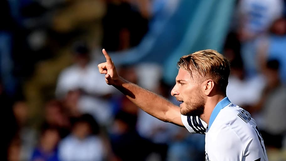 Lazio's Italian forward Ciro Immobile celebrates after scoring during the Italian Serie A football match at The Olympic Stadium in Rome on October 7, 2018. (Photo by Tiziana FABI / AFP)        (Photo credit should read TIZIANA FABI/AFP/Getty Images)