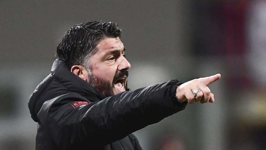 AC Milan's Italian coach Gennaro Gattuso gestures during the Italian Serie A football match between AC Milan and Torino on December 9, 2018 at the San Siro Stadium in Milan. (Photo by Miguel MEDINA / AFP)        (Photo credit should read MIGUEL MEDINA/AFP/Getty Images)