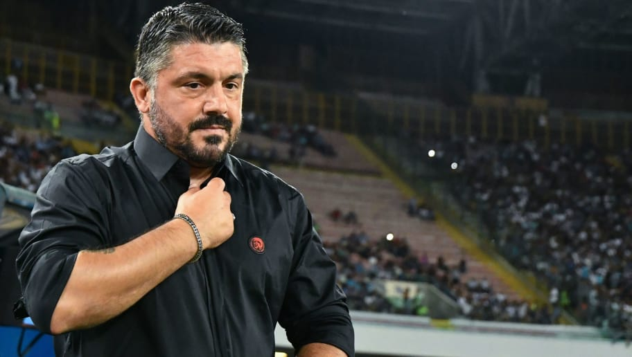 AC Milan's Italian coach Gennaro Gattuso is pictured during the Italian Serie A football match Napoli vs AC Milan on August 25, 2018 at the San Paolo Stadium in Naples. (Photo by Alberto PIZZOLI / AFP)        (Photo credit should read ALBERTO PIZZOLI/AFP/Getty Images)